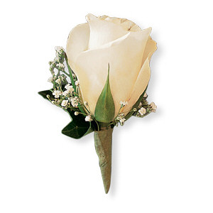 Image of 10765 White Ice Rose Boutonniere.