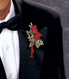 Image of 10769 Red-Hot Roses Boutonniere.