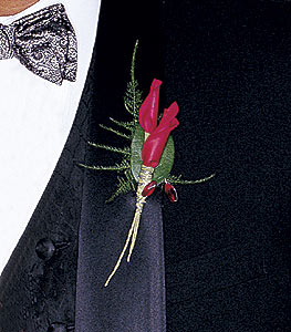 Image of 10789 Red Rose Petals Boutonniere.