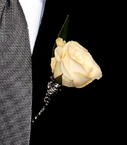 Image of 10791 White Rose Boutonniere.