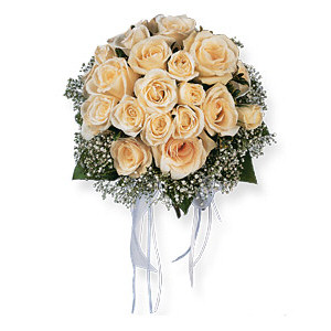 Image of 10792 Hand-Tied White Roses Nosegay.