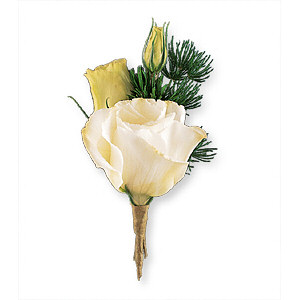 Image of 10806 White Lisianthus Boutonniere.