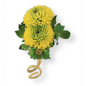 Image of 10813 Chartreuse Chrysanthemum Boutonniere.