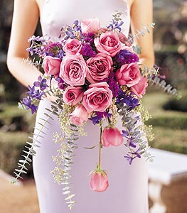 Image of 10829 Cascading Lavender Roses Bouquet.