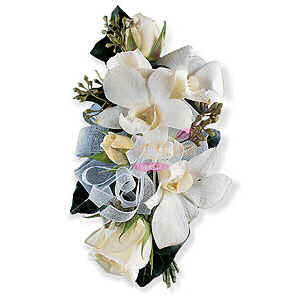 Image of 10834 White Rose and Orchid Corsage.