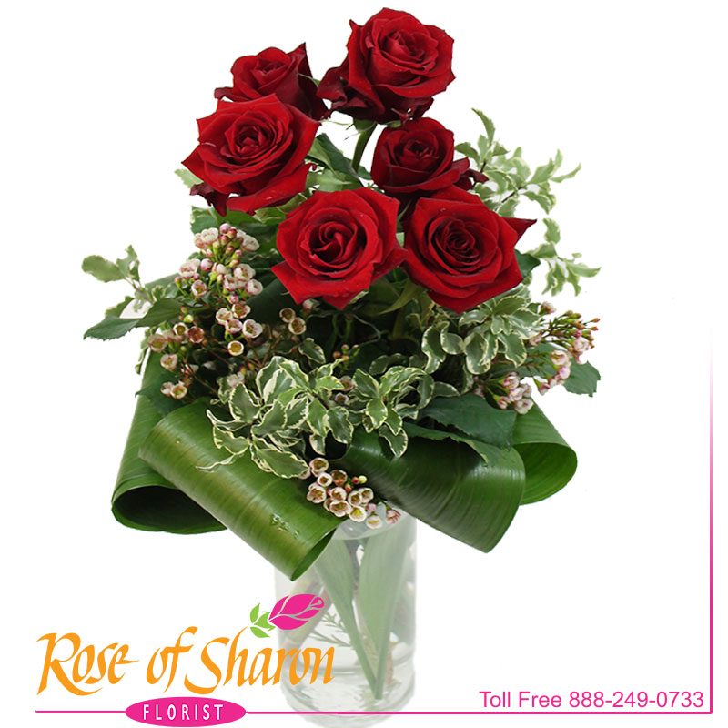 2487 Six Clutched Roses Image Two