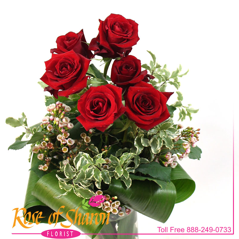 2487 Six Clutched Roses Image Three