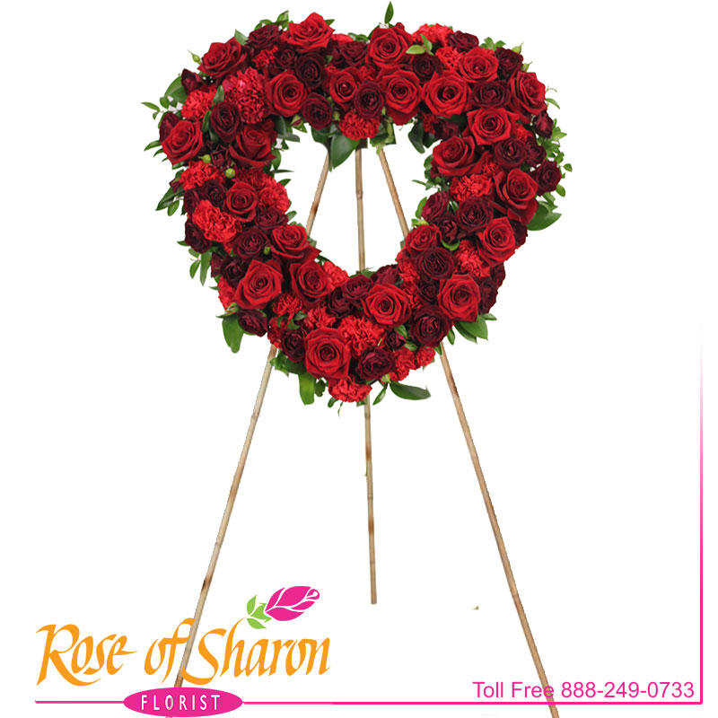 2707 Ruby Rose Heart Spray Image Two