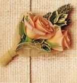 Image of 10132 Peach Sray Rose Boutonniere