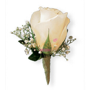 Image of 10809 White Rose and Babys Breath Boutonniere
