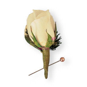 Image of 10810 Miniature White Rose Boutonniere